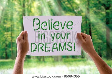 Believe in your Dreams card with nature background