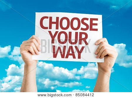 Choose Your Way card with sky background