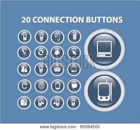20 connection isolated icons, buttons, signs, illustrations design concept set for web, internet, application, vector