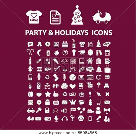 party, holidays, event isolated icons, signs, illustrations design concept set for web, internet, application, vector