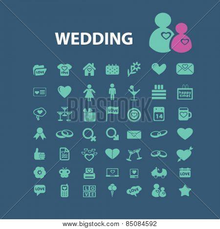 wedding icons set, vector
