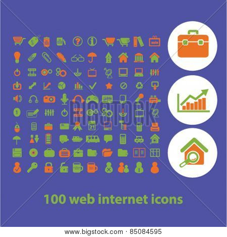 100 web internet page isolated icons, signs, illustrations design concept set for web, internet, application, vector