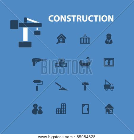 construction isolated icons, signs, illustrations design concept set for web, internet, application, vector