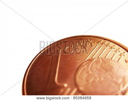 Euro cent detail. All on white background