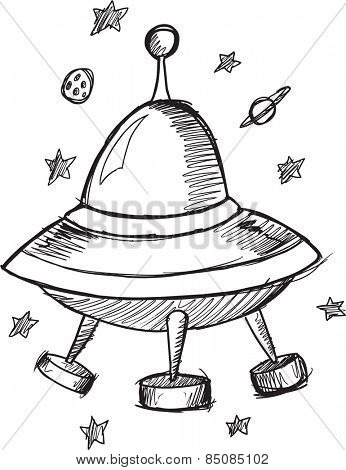 Doodle Sketch UFO Flying Saucer Vector Illustration Art