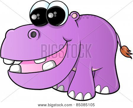 Cute hippopotamus Vector Illustration Art5083_PurpleHippo