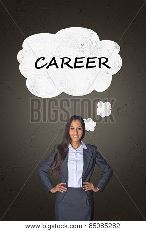 Conceptual Career Text on White Speech Bubble Over a Confident Office Woman on Abstract Gray Gradient Background.