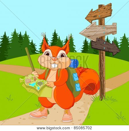 Illustration of traveler squirrel follows the signpost route