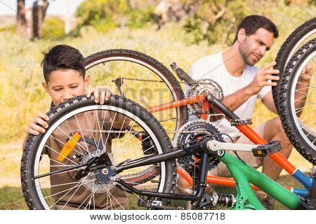 Father and son repairing bike together on a sunny day