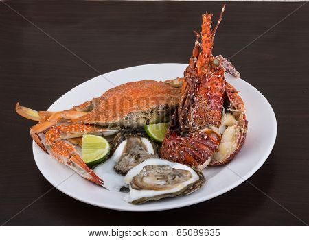 Spiny Lobster, Crab And Oyster