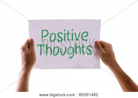 Positive Thoughts card isolated on white