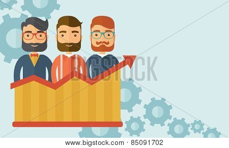 Three businessmen with beards over growing chart. Perspective business concept. Vector flat design Illustration. Horizontal layout with a text space in a top right corner.