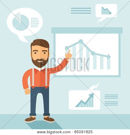 The man with a beard presenting his report through infographics in office. Reporting concept. Vector flat design illustration.