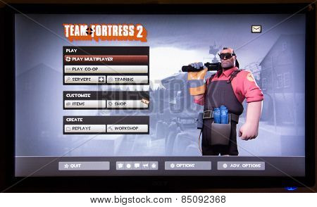 Depew, OK, USA - March 5, 2015: Team Fortress 2 is a team-based first-person shooter multiplayer video game by Valve Corporation, released on October 10, 2007.  June 23, 2011, it became free to play.