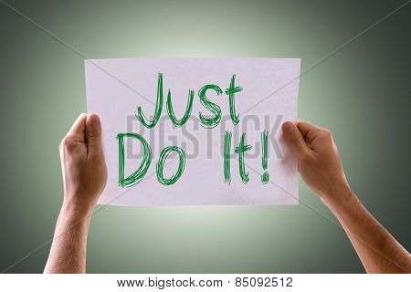 Just Do It card with green background