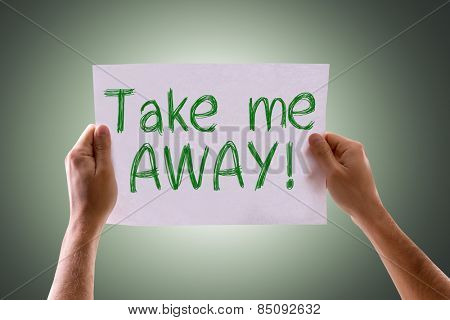 Take Me Away card with green background
