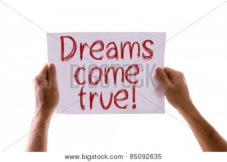 Dreams Come True card isolated on white