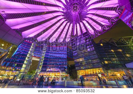 BERLIN, GERMANY - SEPTEMBER 20, 2013: Sony Center at night. The center is a public space located in the Potsdamer Platz financial district.