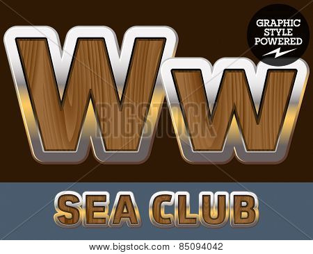 Vector set of elite old styled font in sea club theme. Letter W