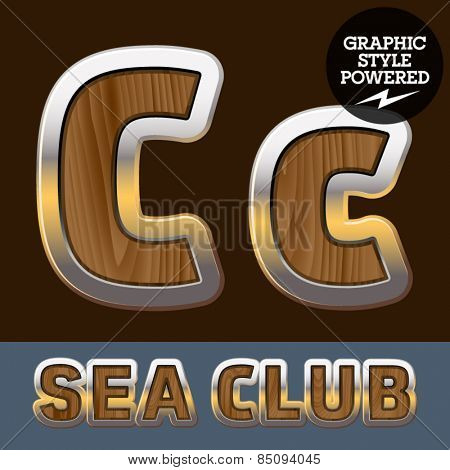 Vector set of elite old styled font in sea club theme. Letter C