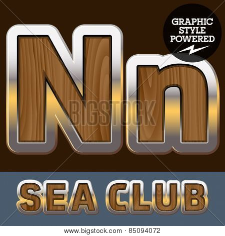 Vector set of elite old styled font in sea club theme. Letter N