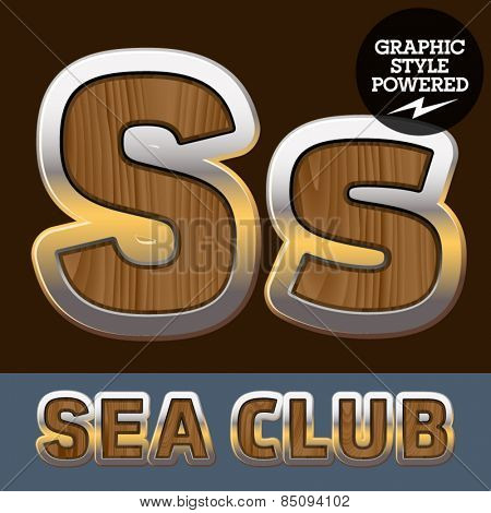 Vector set of elite old styled font in sea club theme. Letter S