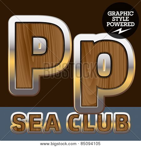 Vector set of elite old styled font in sea club theme. Letter P