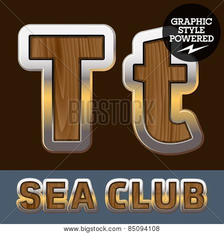 Vector set of elite old styled font in sea club theme. Letter T
