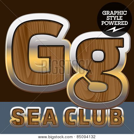 Vector set of elite old styled font in sea club theme. Letter G