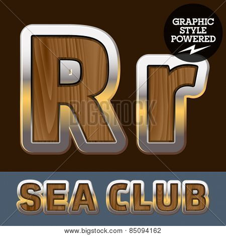 Vector set of elite old styled font in sea club theme. Letter R