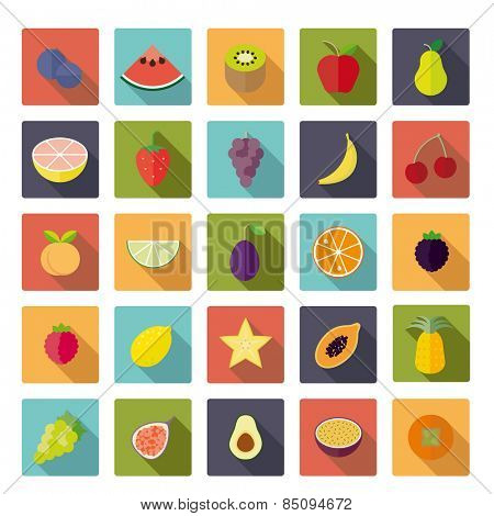 Flat Design Fruit Vector Icon Set. Collection of 25 fruit icons in rounded squares, flat design, long shadow.