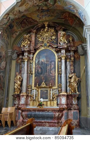 GRAZ, AUSTRIA - JANUARY 10, 2015: Altar of Saint John Grande in Barmherzigenkirche church in Graz, Styria, Austria on January 10, 2015.