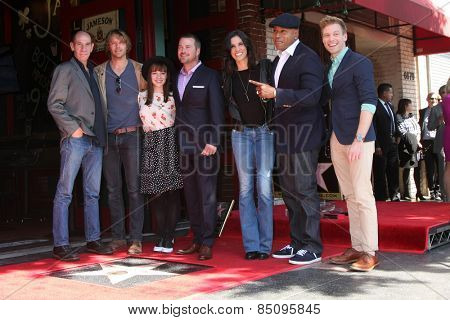 LOS ANGELES - MAR 5:  NCIS LA Cast at the Chris O'Donnell Hollywood Walk of Fame Star Ceremony at the Hollywood Blvd on March 5, 2015 in Los Angeles, CA