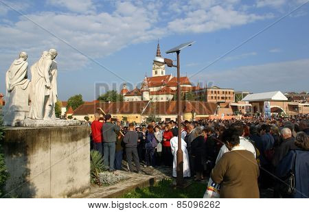MARIJA BISTRICA, CROATIA - SEP 14: Unidentified participants of the Way of the Cross in Croatian national shrine of the Virgin Mary on Sep 14, 2013 in Marija Bistrica, Croatia