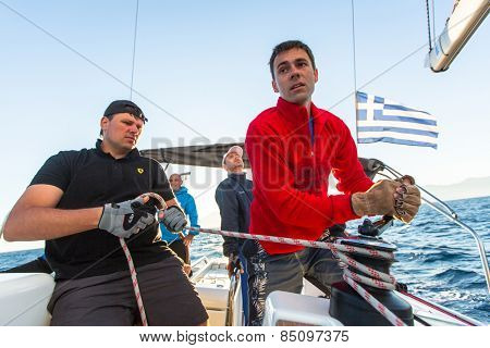 PATRAS, GREECE - CIRCA OCT, 2014: Unidentified sailors participate in sailing regatta 12th Ellada Autumn 2014 among Greek island group in the Aegean Sea, in Cyclades and Argo-Saronic Gulf.