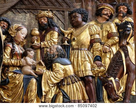 HALLSTATT, AUSTRIA - DECEMBER 13: Nativity scene, adoration of the Magi, Maria am Berg church on December 13, 2014 in Hallstatt, Austria.
