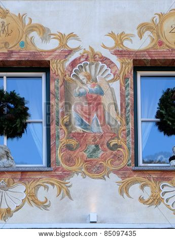 ST. WOLFGANG, AUSTRIA - DECEMBER 14: Angel on house facade in St. Wolfgang on Wolfgangsee in Austria on December 14, 2014.