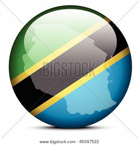 Map On Flag Button Of United Republic Tanzania