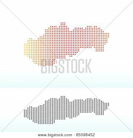 Map Of Slovak Republic With Dot Pattern