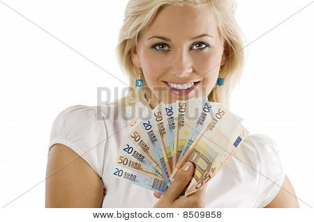 Smilig Girl With Cash