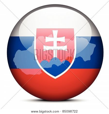 Map On Flag Button Of Slovak Republic