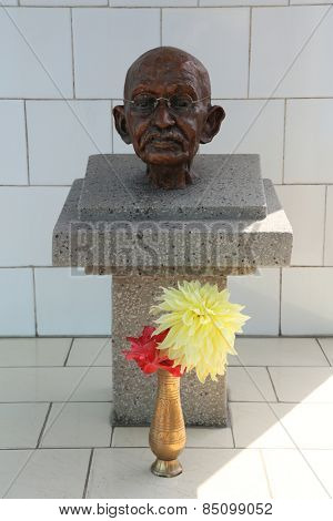 TITAGARH, INDIA - FEBRUARY 09, 2014: Memorial to Mahatma Gandhi in Gandhiji Prem Nivas( Leprosy center), established by Mother Teresa and run by the Missionaries of Charity in Titagarh, India