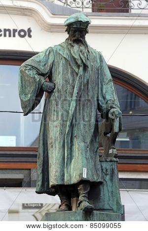 VIENNA, AUSTRIA - OCTOBER 10: Johannes Gutenberg memorial. It was open in 1897. Sculptors by Jerzy Plecnik and Othmar Shimkovits  in Vienna, Austria on October 10, 2014.