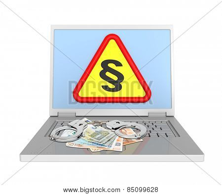 Laptop with paragraph sign, euro bills and handcuffs isolated on white.