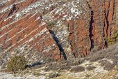 pic of collins  - layers of red sandstone rock  - JPG