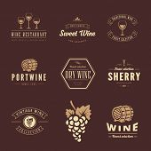 stock photo of wine grapes  - Wine Hipster Logo design vector typography lettering templates - JPG