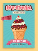 image of ice cream parlor  - Retro menu card design for ice cream shop or restaurant - JPG