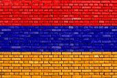 picture of armenia  - flag of Armenia painted on brick wall - JPG