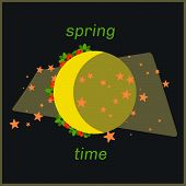 image of moon-flower  - Spring moon time art with flowers around - JPG