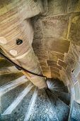 foto of spiral staircase  - old stone spiral staircase in  St - JPG